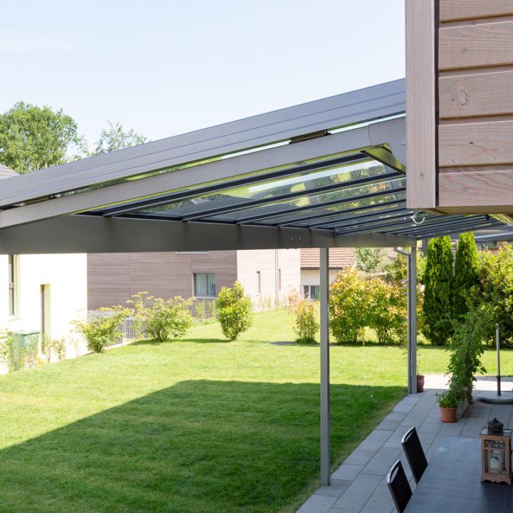 glasdach erweiterung an fassade
