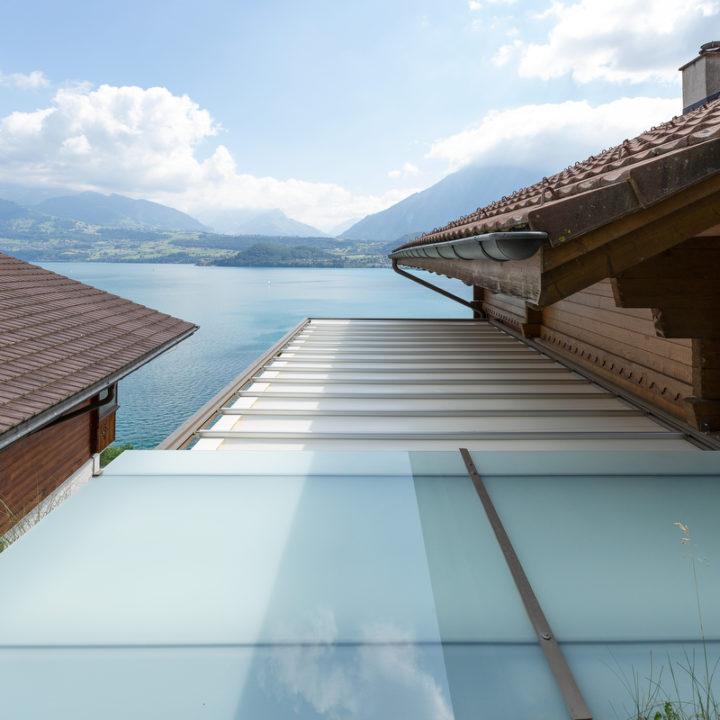 sicht von oben pergola mit glasdach als schutz